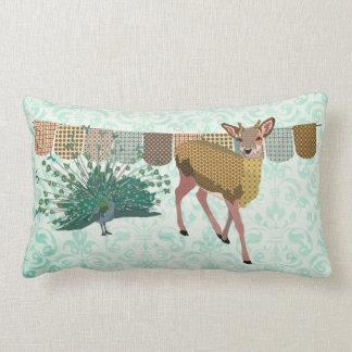 Golden Rose Deer & Peacock  Mojo Pillow Throw Cushion