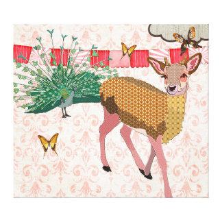 Golden Rose Deer & Peacock Pink Canvas Art