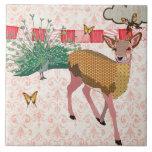 Golden Rose Deer & Peacock Pink Damask Tile