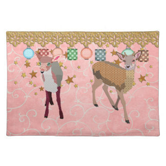 Golden Rose & Floral Fawn Pink Dawn American MoJo  Placemats