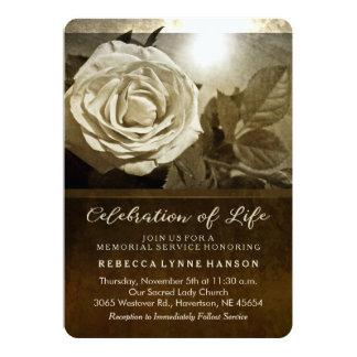Golden Rose Nostalgia Memorial Service Invitation