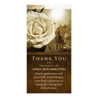 Golden Rose Nostalgia Sympathy Thank You Card Customised Photo Card