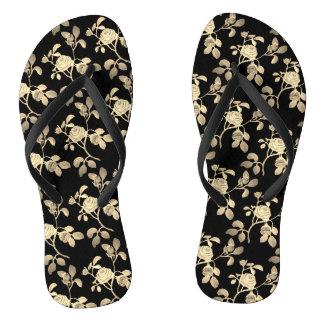 Golden Rose on Black Shower Shoes FlipFlops