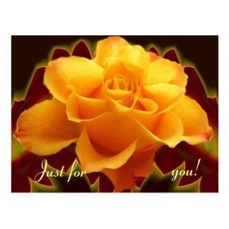 Golden rose on stylised leaf post card