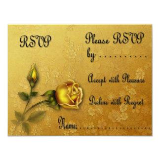 Golden Rose RSVP card 11 Cm X 14 Cm Invitation Card