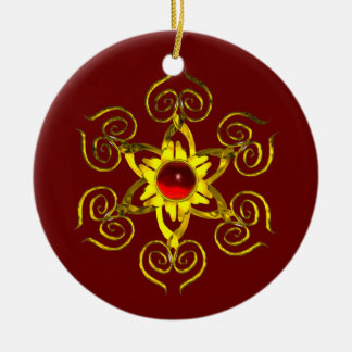 GOLDEN ROSE RUBY ,Red and Green Christmas Tree Ornament