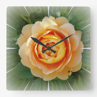 Golden rose square wall clock