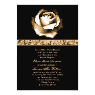 "Golden Rose Wedding Invitation 5"" X 7"" Invitation Card"
