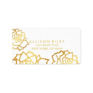 Golden Roses Address Label - White