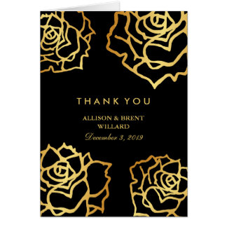 Golden Roses Thank You Card