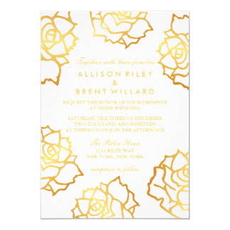 Golden Roses Wedding Invitation - White