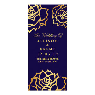 Golden Roses Wedding Program - Blue Rack Card