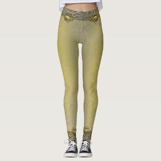 Golden royal ancient damask old Leggings