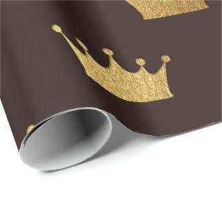 Golden Royal Bronze King Crown Heraldic Princess Wrapping Paper