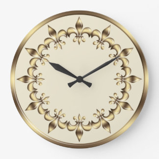 Golden royal  circle element.Fleur-de-Lis. Large Clock