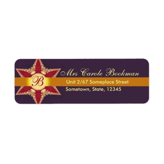 Golden Royal Lace Red Star Monogram Address Label