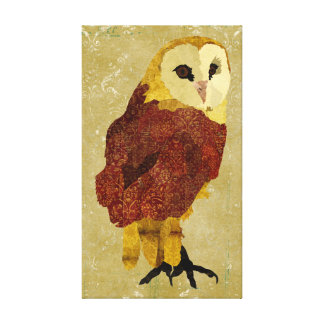 Golden Ruby Owl Canvas Stretched Canvas Print