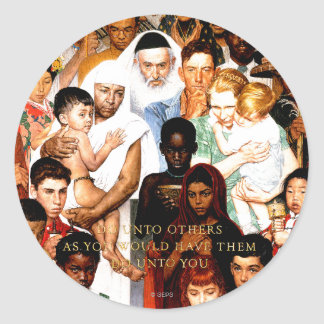 Golden Rule (Do unto others) by Norman Rockwell Classic Round Sticker