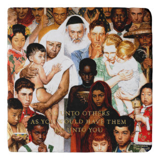 Golden Rule (Do unto others) by Norman Rockwell Trivet