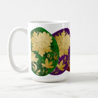 Golden Russian Folk Art Decorated Colored Eggs Classic White Coffee Mug