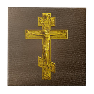 Golden Russian orthodox cross Small Square Tile