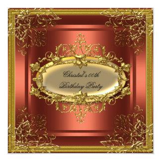 "Golden Rust Elite Elegant Birthday Party 5.25"" Square Invitation Card"