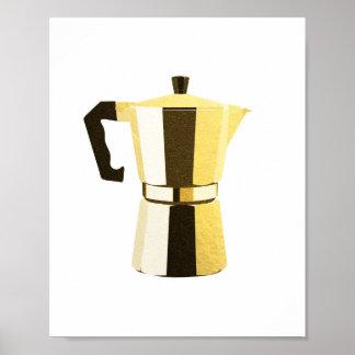 Golden rustic macchinetta Italian espresso coffee Poster