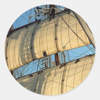 Golden Sails Round Stickers