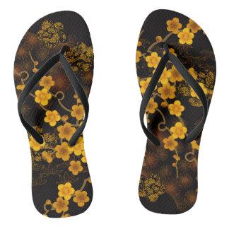 Golden Sakura Flip Flops
