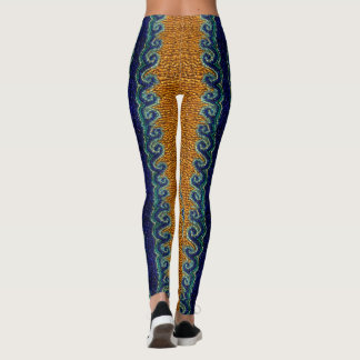 Golden sand and curly waves beaded print design leggings