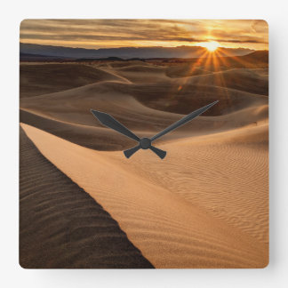 Golden Sand dunes, Death Valley, CA Square Wall Clock