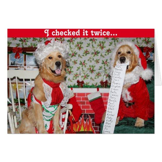 Golden Santa Checks Christmas List with Mrs. Claus Card