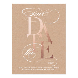 Golden Save the Date Announcement Postcard