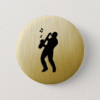 Golden Saxophone Player 6 Cm Round Badge
