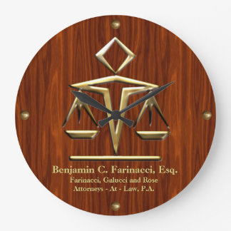 Golden Scales of Justice on Cherry (Personalized) Large Clock