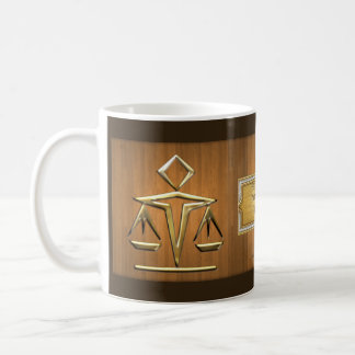 Golden Scales of Justice on Teak Personalized Coffee Mugs