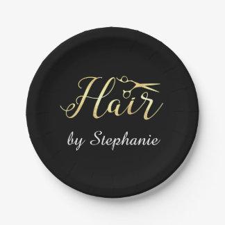 Golden Script Scissors Hairstylist Hair Salon 7 Inch Paper Plate