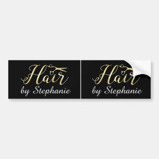 Golden Script Scissors Hairstylist Hair Salon Bumper Sticker