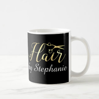 Golden Script Scissors Hairstylist Hair Salon Coffee Mug
