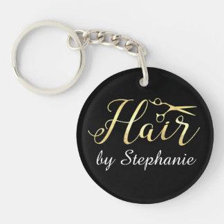 Golden Script Scissors Hairstylist Hair Salon Key Ring