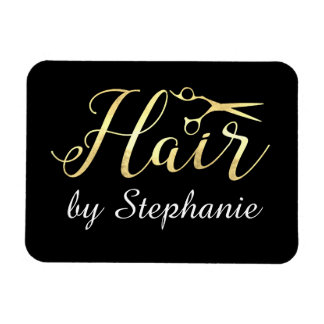 Golden Script Scissors Hairstylist Hair Salon Magnet