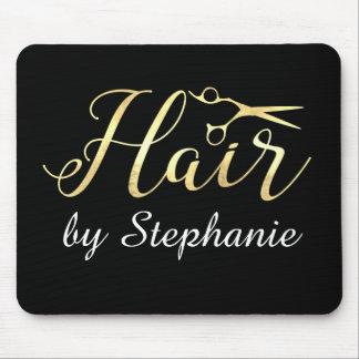 Golden Script Scissors Hairstylist Hair Salon Mouse Pad