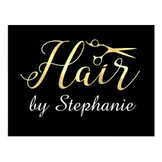 Golden Script Scissors Hairstylist Hair Salon Postcard