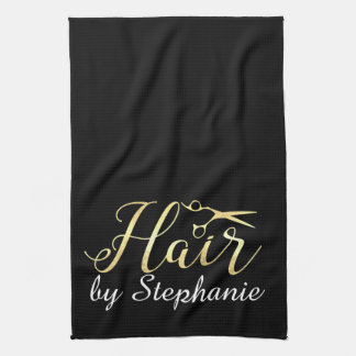 Golden Script Scissors Hairstylist Hair Salon Tea Towel