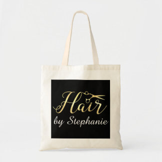 Golden Script Scissors Hairstylist Hair Salon Tote Bag