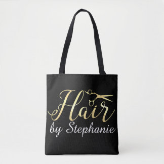 Golden Script Scissors Hairstylist Hair Salon Tote Bag