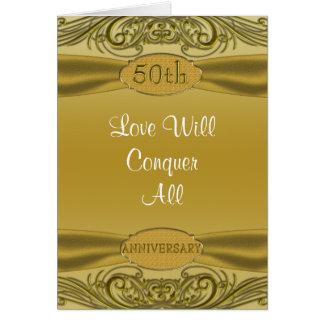 Golden Scrolls 50th Wedding Anniversary Card