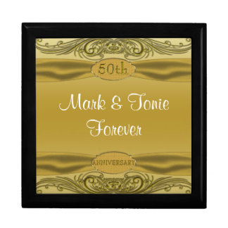 Golden Scrolls 50th Wedding Anniversary Large Square Gift Box