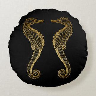 Golden Seahorse Round Pillow