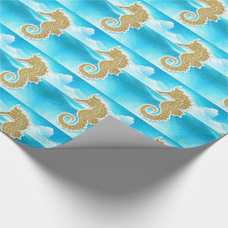 Golden Seahorse with Ocean Blue Wrapping Paper